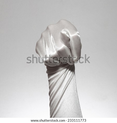 a set of different social gestures in gloves - stock photo
