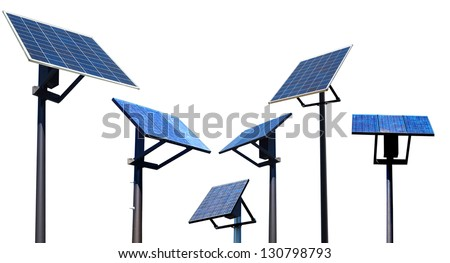 A set of environment solar panel poles, isolated white background - stock photo