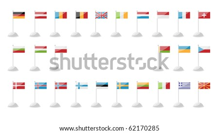 a set of flags of European countries - stock photo