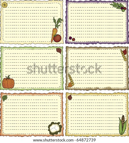 a set of folk-art styled recipe or note cards - stock photo