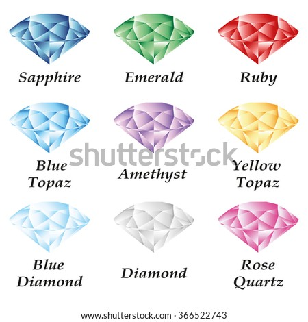 A set of four gems - sapphire, emerald, ruby, diamond, topaz, amethyst, quartz on a white background. Isolated objects. - stock photo