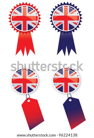 A set of four icons with glass effect buttons using the union jack flag. Ideal for web or print use. - stock photo