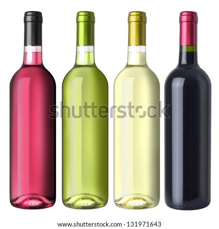 A set of four kinds of wine - stock photo