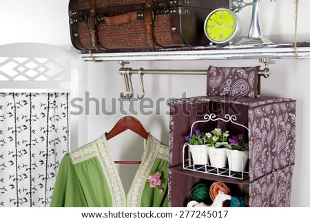 a set of furniture and accessories for the wardrobe - stock photo