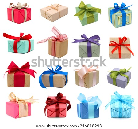 A set of gift boxes, holiday presents - stock photo