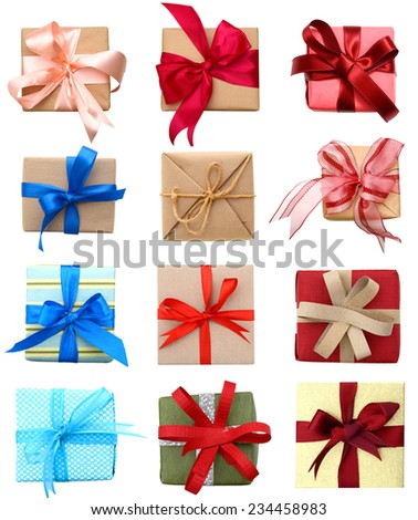 A set of gift boxes, holiday presents above view  - stock photo