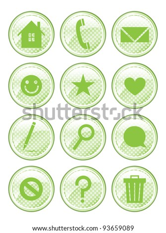 A set of 12 glossy action buttons. - stock photo