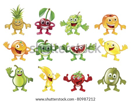 A set of happy cute colorful fruit character mascots - stock photo