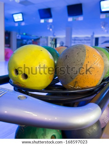 a set of multi coloured balls for bowling playing - stock photo