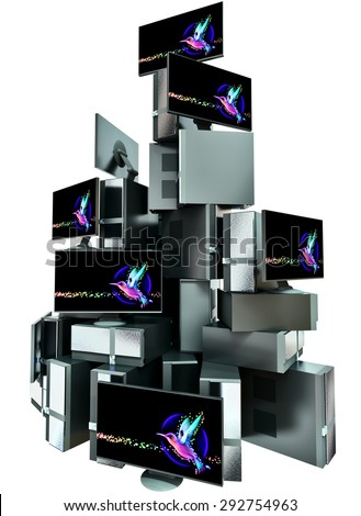 A set of multiple computers assembled in the composition in the form of high pyramid on white background. 3d illustration concept. - stock photo