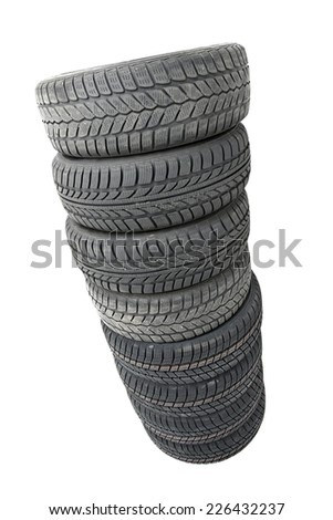 A set of new winter tyres - stock photo