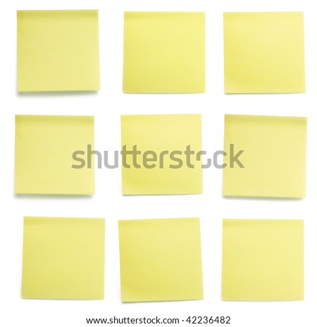 A set of office/work related yellow colored paper sticky notes. Isolated on white background include clipping path. - stock photo