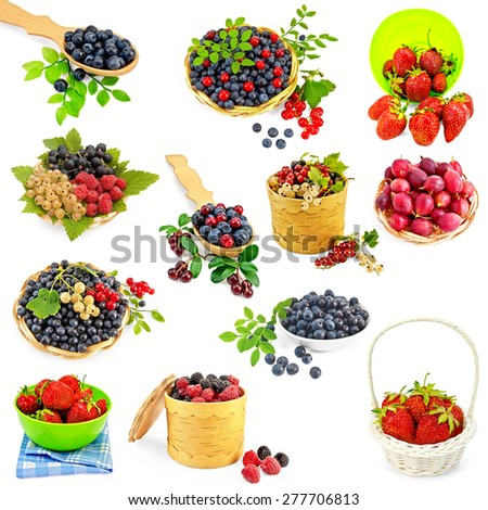 A set of photos of strawberries, cranberries, raspberries, blackberries, blueberries, white, black and red currants, gooseberries isolated on a white background - stock photo