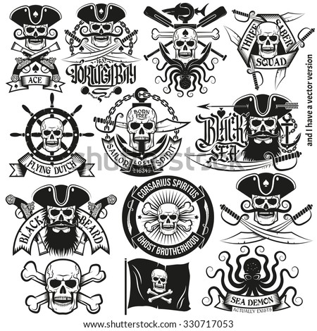 A set of pirate logo with skulls, bones, three-cornered hat, pistols, swords, hand wheels, anchors. Pirate tattoos. - stock photo
