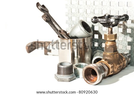 a set of plumbing for repairs of water pipes - stock photo