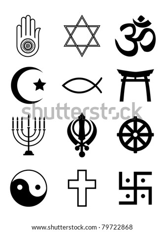 A set of Religious symbols. Black silhouettes isolated on white. Also available in EPS10 vector format - stock photo