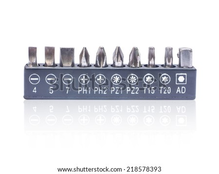 A set of screw tips  on white background - stock photo