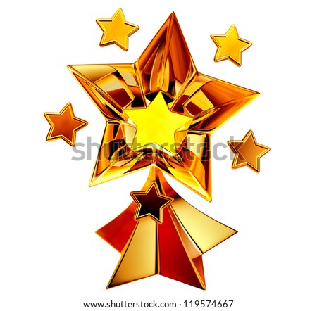 a set of seven shiny gold stars in motion for advertise - stock photo
