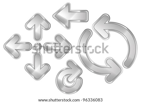 A set of 8 shiny metallic arrows. Light Chrome. - stock photo