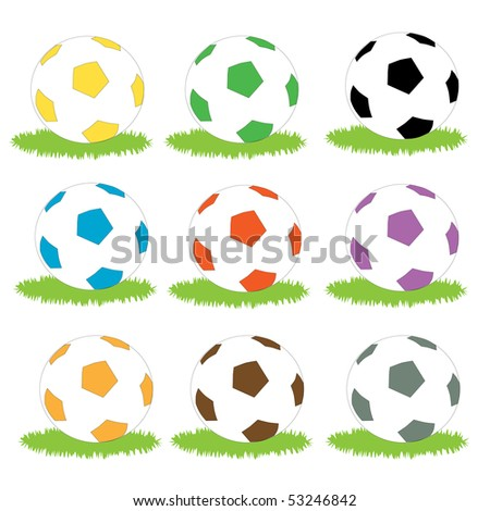A set of simple coloured soccer ball icons on patches of grass - stock photo