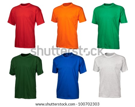 A set of six color cotton t-shirts isolated over white background, big size image - stock photo