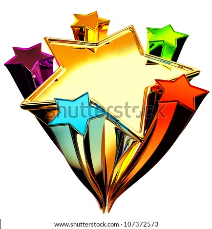 a set of six colorful shining stars in the upward motion for advertise - stock photo