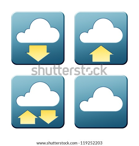 A set of some nice and modern cloud signs with clipping path - stock photo