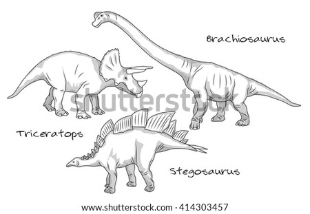 A set of thin line engraving style illustrations of various kinds of prehistoric dinosaurs, it includes brachiosaurus, stegosaurus and triceratops. Raster version. - stock photo