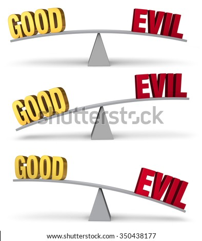"A set of three images of a red ""EVIL"" and a gold ""GOOD"" on opposite ends of a gray balance board in turns outweighing or balancing each other. Isolated on white.