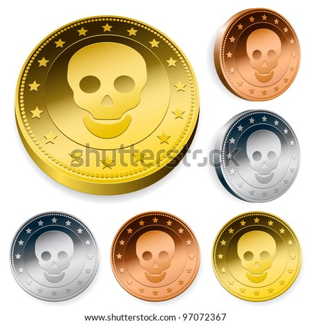 A set of three round coins or tokens with a central skull in gold, silver and bronze in two orientations - stock photo