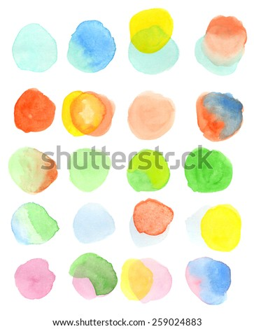 A set of twenty, hand-painted, colorful watercolor circles in pastel tones. Light and airy Springtime feel. White background for easy cutout. Hand drawn using transparent watercolor paint on paper. - stock photo