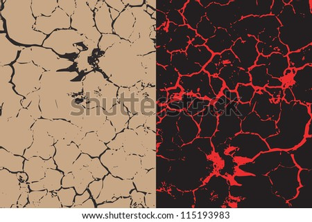 A set of two cracks textures with animal`s trace. - stock photo