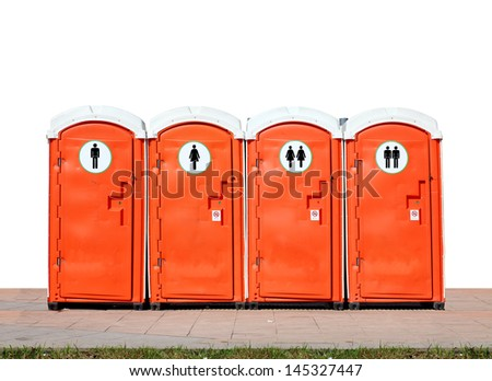 A set of unisex portable toilet with multi sexual symbol, isolated against white.  - stock photo