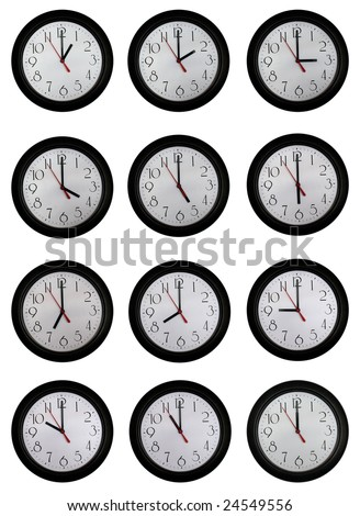 A set of very nice clock pictures from one to twelve o'clock in one hour increments - stock photo
