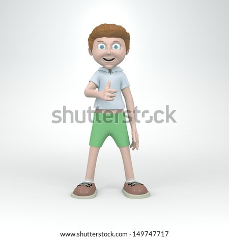 A set of young nice boy images in various poses. 3D renders - stock photo