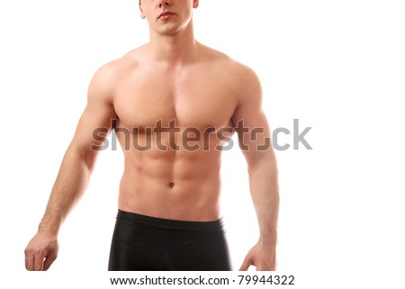 A sexy body of a young man, isolated on white - stock photo