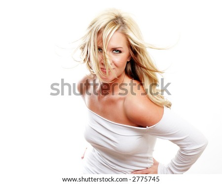 a sexy girl is wearing white against white background - stock photo