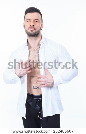 A sexy men with a detach shirt - stock photo