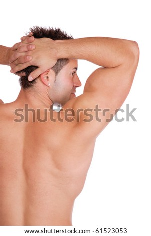 A Sexy muscular man isolated on white - stock photo