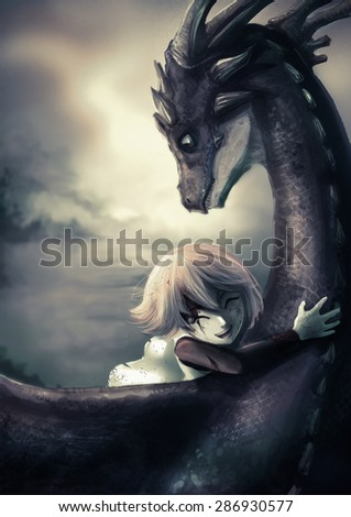 A shabby girl is hugging her dragon with happiness in old  vintage childhood memory illustration This is a fantasy drawing - stock photo