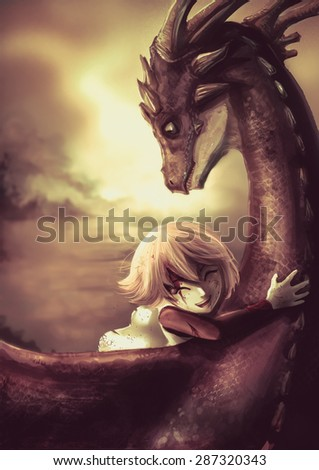 A shabby warrior girl is hugging her pet dragon with happiness in old sunset vintage childhood memory illustration. This is a fantasy drawing. - stock photo