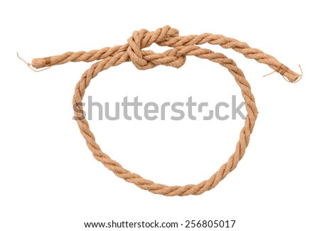A shaped Knot on a Jute rope isolated on white background - stock photo