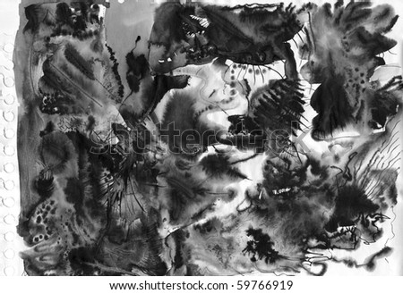 A sheet of abstract black ink background paper - stock photo