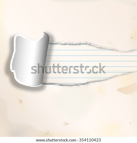 a sheet of paper ripped - stock photo