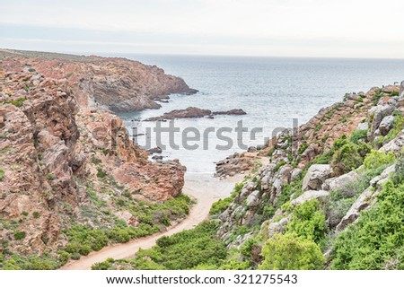 A sheltered boat launch site at Strandfontein on the Atlantic coast of South Africa - stock photo