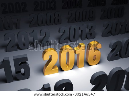 """A shining, gold """"2016"""" stands out in a dark field of other years - stock photo"""