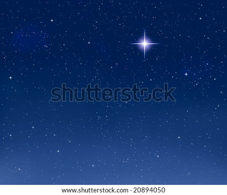 A shining star against a star field background with blue tones. - stock photo