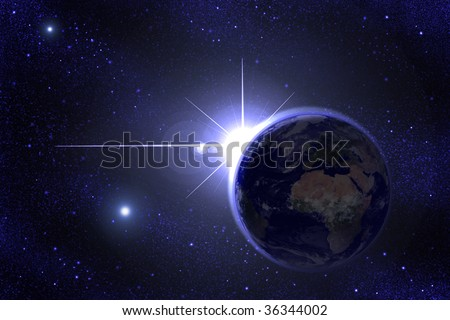 a shining star behind Earth - stock photo