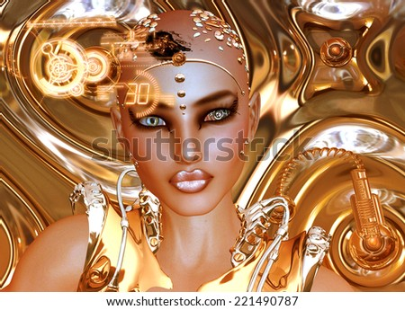 A shiny gold abstract background sets the stage for this futuristic robot girl to show off man's creation of modern machinery and beauty combined. - stock photo