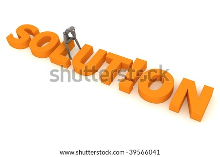 a shiny grey figure sits on the orange word solution - the letter i is replaced by an exclamation mark - stock photo